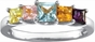 Multiple Princess Cut Birthstone Gold Ring - with Genuine Stones - click to Enlarge