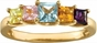 Multiple Princess Cut Birthstone Gold Ring - with Simulated Stones - click to Enlarge