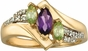 Multiple Swirl and Marquise Triplet Gold Ring - with Simulated Stones - click to Enlarge