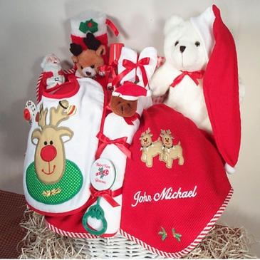 """""""My First Christmas"""" Baby Holiday Basket (Personalized)"""