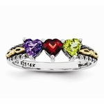 Heart-to-Heart Antiqued Family Birthstone Ring