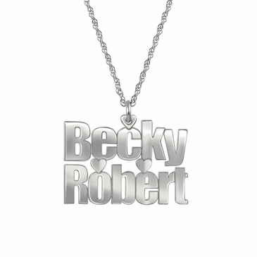 Name and Heart Couple's Pendant Necklace
