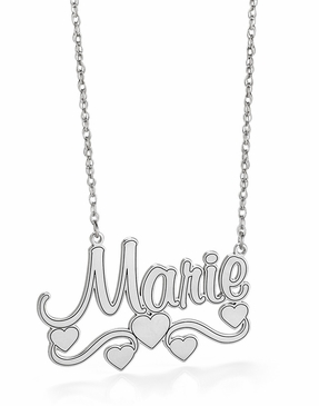 Name Necklace with Heart & Swirls