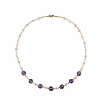 Natural 14K Yellow Amethyst & Cultured Pearl Necklace