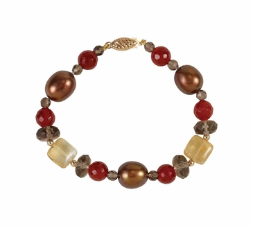 Natural 14K Yellow Multi-Gemstone & Choc Pearl Bracelet