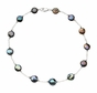 Natural Black Coin Pearl Station Necklace/Bracelet Sterling Silver - click to Enlarge
