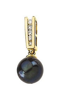 Natural Black Pearl with Diamond Studs Pendant