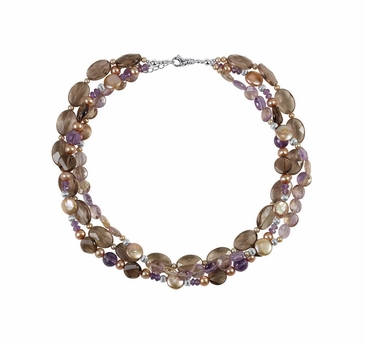 Natural Dyed Pearl and Multi-gemstone Sterling Silver Necklace