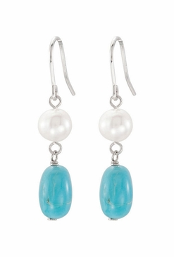 Natural Pearl And Authentic Turquoise Earrings