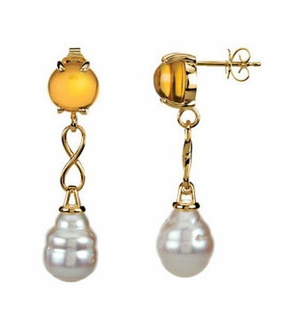 Natural Pearl and Citrine Earrings