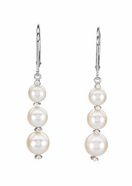 Natural Pearl and Diamond Earrings