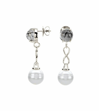 Natural Pearl and Tourmalinated Quartz Earrings