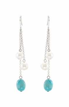 Natural Pearl Authentic Turquoise Danglers
