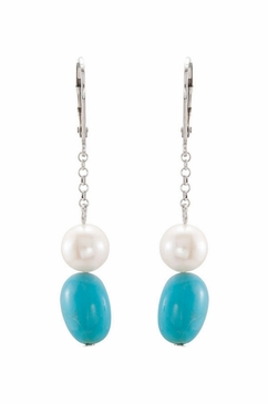 Natural Pearl Authentic Turquoise Earrings