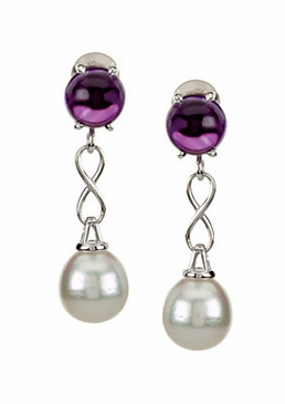 Natural Pearl Earring with Genuine Amethyst Stone
