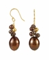 Natural Pearl & Quartz Earrings - Yellow Gold - click to Enlarge