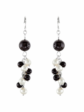Natural Pearls and Beads Clutter Earrings - Sterling Silver