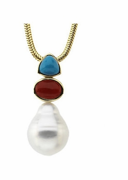 Natural Round Pearl Turquoise, & Red Gemstones Pendant