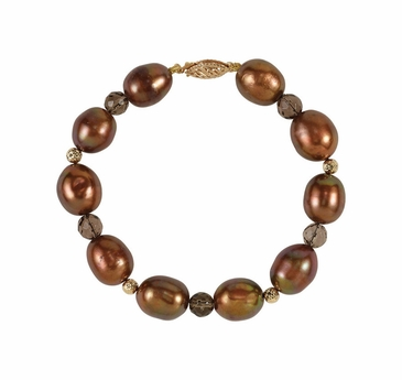 Natural Smoky Quartz and Choc Pearl 14 K Yellow Bracelet