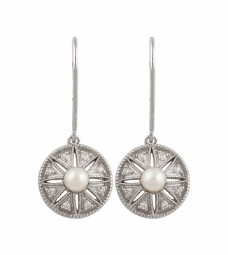 Natural Sterling Silver .04 CTW Diamond & Cultured Pearl Earrings with Stone