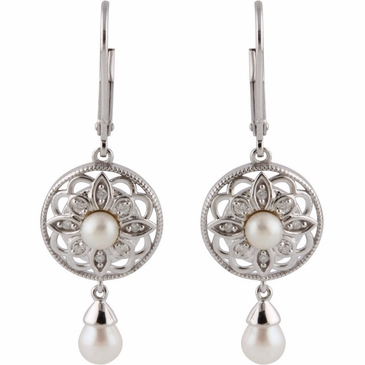 Natural Sterling Silver .08 CTW Diamond & Cultured Pearl Earrings
