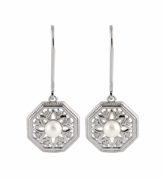 Natural Sterling Silver 9/10 CTW Diamond & Cultured Pearl Earrings