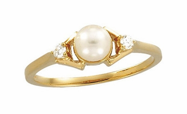 Natural Yellow Pearl with Diamond Finger Ring