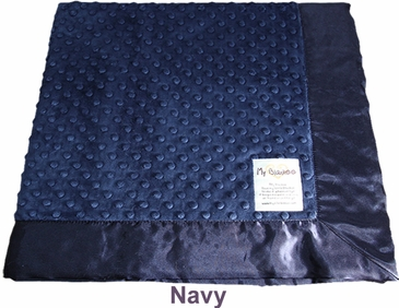 Navy Dot Velour Blanket with Satin by My Blankee