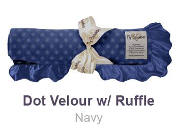 Navy Dot Velour with Ruffle Trim Blanket by My Blankee
