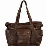Not Rational Hansel Chocolate Wrinkle Leather Diaper Bag  (SALE)