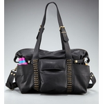 Not Rational Hansel Leather Diaper Bag - Black Lux with Studs