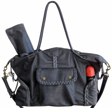 Not Rational Kelly Leather Diaper Bag - Grey Distressed (As Seen in Daily Candy!)
