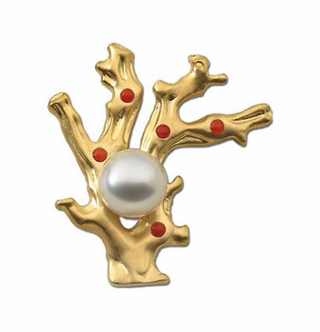 ntricate Golden Brooch With South Sea Pearl And Red Corals