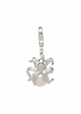 Octopus Charm with Pearl and Diamond Accents