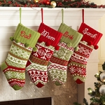 Old-Fashioned Knitted Christmas Stocking - Personalized