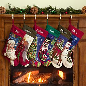 Old-Fashioned Needlepoint Christmas Stockings