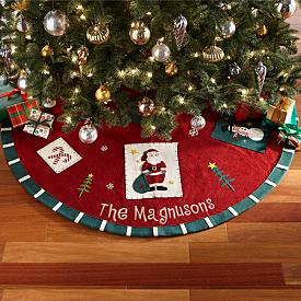 Old-Fashioned Patchwork Christmas Tree Skirt - Personalized