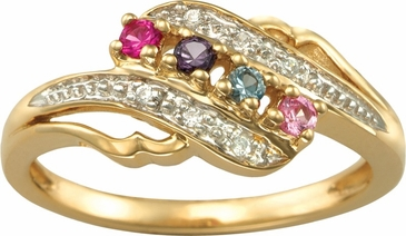 Open Swirl Multiple Birthstone Gold Ring - with Genuine Stones