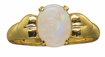 Oval Birthstone and Hearts Ring