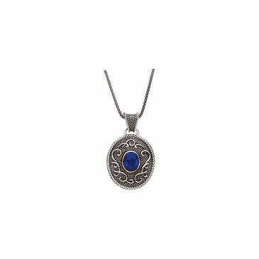 Oval Cabochon Lapis Sterling Silver Necklace