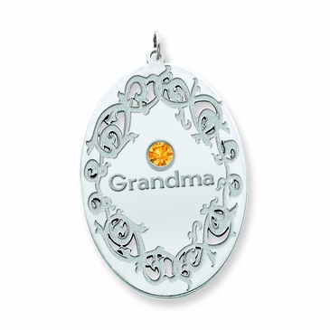 Oval Family Vine Birthstone Pendant - Personalized