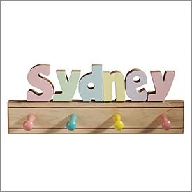 Pastel Name Puzzle Kids Coat Rack