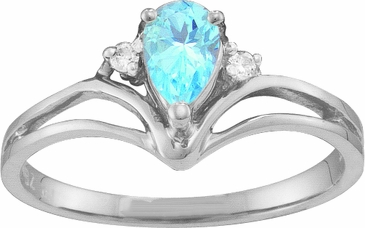 Pear Shaped Birthstone and Diamond Majesty Ring
