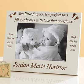 """Perfect 10"" Personalized Baby Photo Frame"