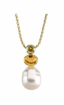 Peridot- and Citrine-Studded Pearl Pendant