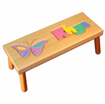 Personalized Butterfly Wooden Puzzle Stool