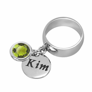 Personalized Charm and August Birthstone Ring