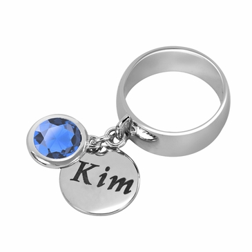 Personalized Charm and December Birthstone Ring
