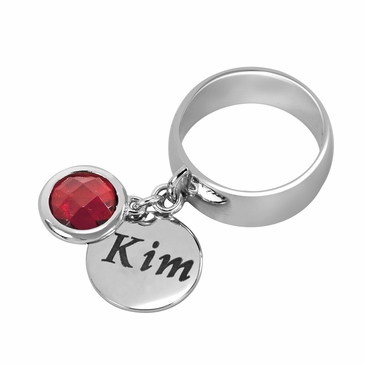Personalized Charm and July Birthstone Ring