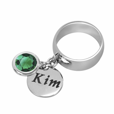 Personalized Charm and May Birthstone Ring